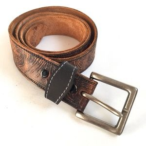 Other - leather belt burnished embossed duck imagery 40